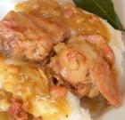 Coniglio al curry con polentina bianca